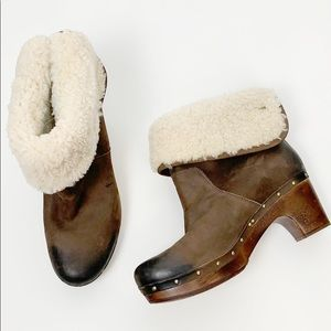 Ugg Lynnea Shearling Lined Wood Clog Ankle Boot